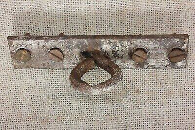 old Plant Hook Porch ceiling hanger iron rustic primitive vintage eye on plate