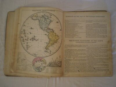 1875 ANTIQUE MITCHELLS MODERN WORLD GEOGRAPHY BOOK w/ 23 COLOR COPPER-PLATE MAPS
