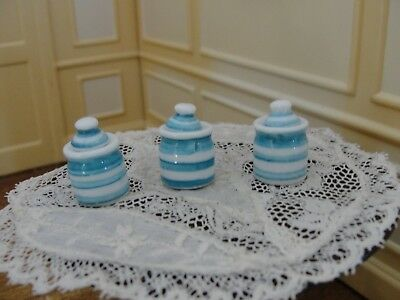 Dollhouse Miniature 3 Piece Blue & White Canister Set   England
