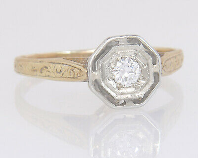 Antique Ostby Barton 14K Two Tone Gold Genuine Diamond Art Deco Engagement Ring