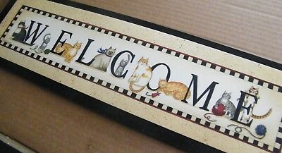 "6x21""  CAT WELCOME country primitive cat cats kitten print art home decor sign"