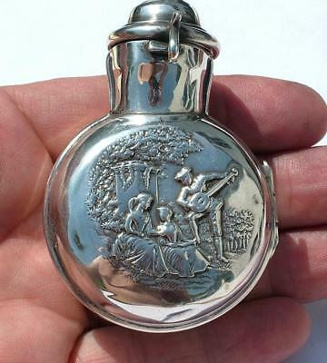 Beautiful Antique 1904 Edwardian Sterling Silver Hinged Scent Bottle Travel Case
