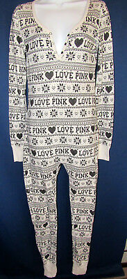 Victoria Secret Pink Love Pink Thermal Long John Lounge PJs One Piece