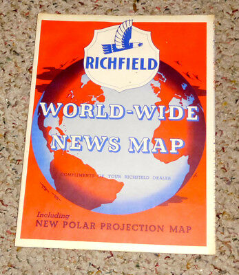 Vintage Richfield ~ World Wide News Map ~ 1940s. Free Shipping.