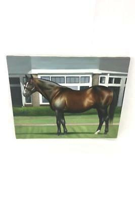 Original Oil Painting Brown Black Horse in front of House by Rose M. Sullivan