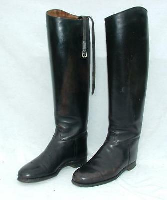 Pair Of Antique / Vintage Black Leather Hunting Boots By Schnieder New Bond St.