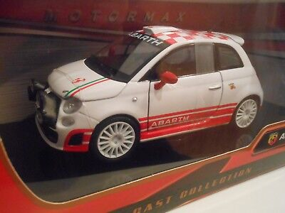 Motormax 124 Scale 73379 Fiat 500 Abarth R3t White Red Diecast