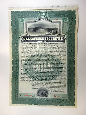 NY. St.Lawrence Securities Co 1906 Specimen $1000 4% Gold Coupon Bond ABN Green