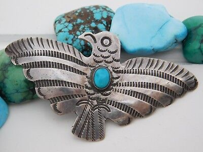 Vtg PAWN NAVAJO Sterling Silver Turquoise Fred Harvey Tourist THUNDERBIRD Pin