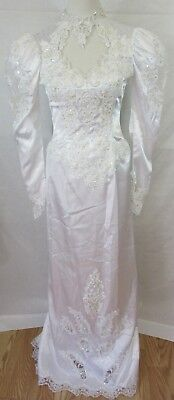 Alfred Angelo Vintage White Size 10 Sequins Beaded Applique Bridal Dress