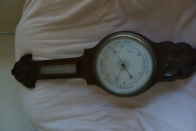 Very Large Banjo Barometer Thermometer In Oak Surround Top Quality Item