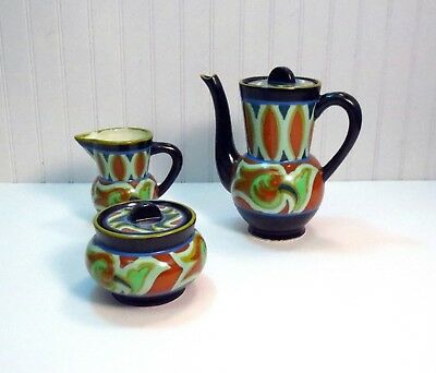 Early Vintage Art Deco Japanese Gouda Pottery Tea Set W/ Teapot Creamer & Sugar