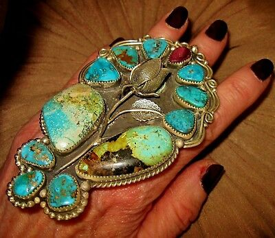 NAVAJO RING - CHAVEZ Precious Sterling Silver Rose,Turquoise Ring,85 grams,sz7.5
