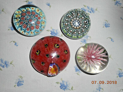 4 Old Glass Paperweights Including Signed Perthshire Scotland Millefiore Peacock