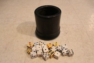 VINTAGE LEATHER DICE CUP WITH DICE nice