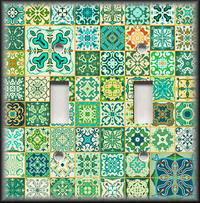 Metal Light Switch Covers - Patchwork Moroccan Tiles Design Decor Green