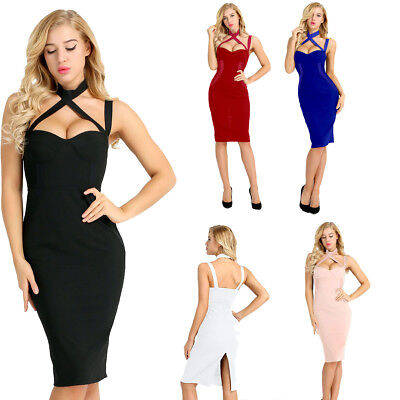 Womens Sleeveless Bodycon Dress Evening Party Cocktail Bandage Strapless Dress