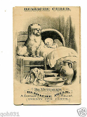 Victorian Trade Card folder DR METTAURS HEADACHE PILLS Dog with Baby cure remedy