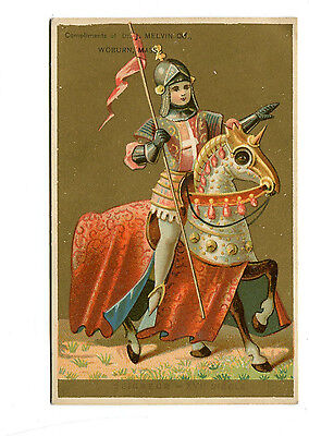 Victorian Trade Card DR J MELVINS VEGETABLE PILLS remedy Knight on Horse Woburn