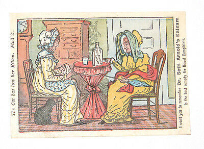 Victorian Trade Card DR SETH ARNOLDS BALSAM Remedy Bowels Cat lost kitten puzzle