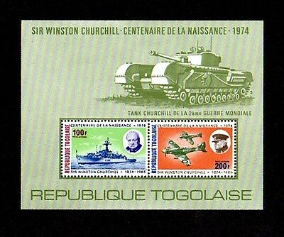 Togo - 1974 - Churchill - Tank - Ship - Spitfire - Ww Ii - Perf - Mnh S/sheet!