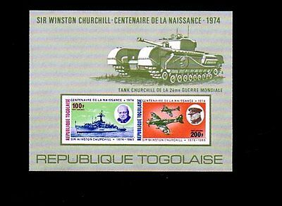 Togo - 1974 - Churchill - Tank - Ship - Spitfire - Ww Ii - Imperf - Mnh S/sheet!
