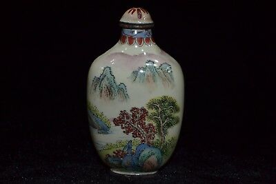 Collectible Rare Cloisonne handwork mountain chinese antique old Snuff Bottle