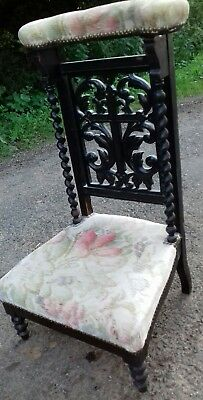 Beautiful Black Oak French 19Thc Antique Prayer Chair From Seine Valley Chateau