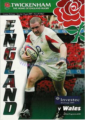 ENGLAND v WALES 2007 RUGBY PROGRAMME 4 AUGUST - TWICKENHAM RWC WARM UP MATCH