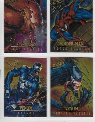 SPIDERMAN FLEER ULTRA 1995 MASTER PIECES CHROME CARDS  1 to 9        CHOOSE
