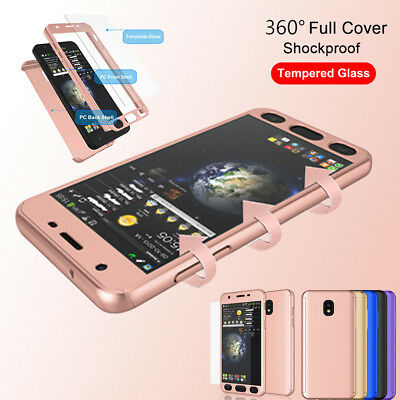 For Samsung Galaxy J7 Refine J7 2018 360° Case Cover Shockproof + Tempered Glass