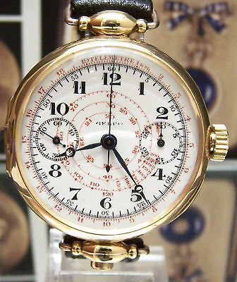 C1918 Rare Oversize Antique Solid 18K Gold One Button Chronograph Serviced