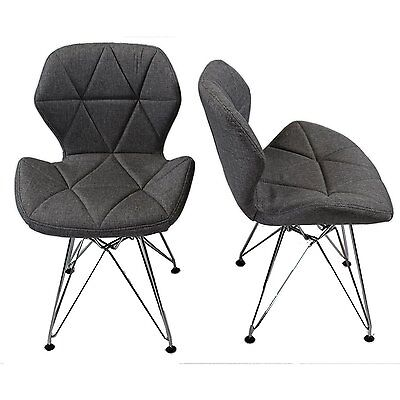 REBOXED 2x Charles Jacobs Dining Office Chair Chrome Metal Leg Fabric Grey Used