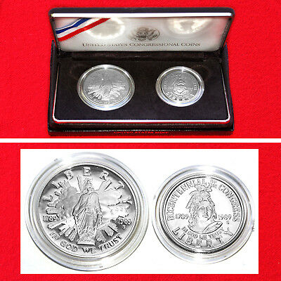 1989-S Congress 2 Coin Proof Set + Box + Coa Proof Issue .900 Fine Silver Dollar