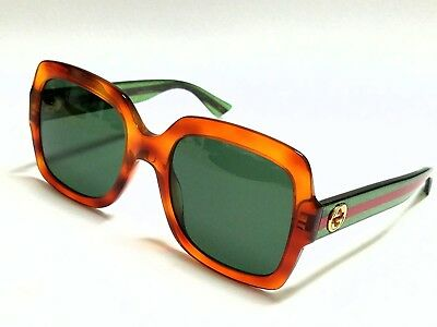57035fdb4986 New Authentic GUCCI GG0036S 003 Havana Green Glitter/Green Lens 54mm  Sunglasses