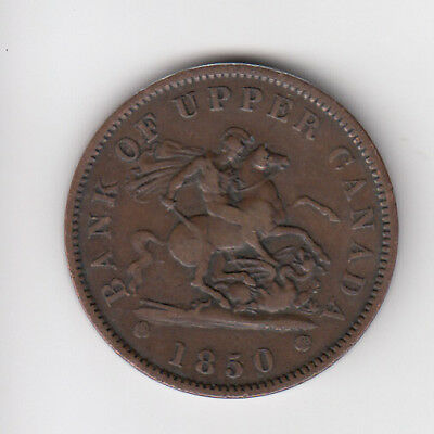 1850 Province Of Canada One Penny Token