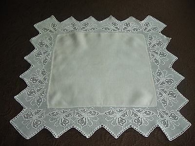 "Lovely Antique Linen Center Tablecloth 28"" Wide Crochet Edging With Butterflies"