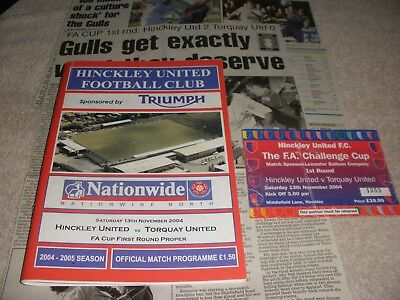 Hinckley United v Torquay United 13/11/04 FA Cup 1st Round  With Ticket + Report