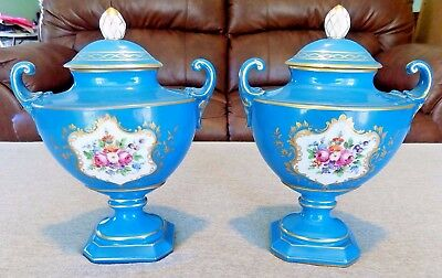 SEVRES URNS pair c 1800 turquoise blue--beautiful for your mantle