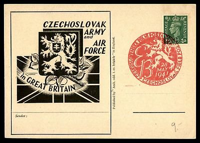 Czechoslovak Army And Air Force In Great Britain May 28 1941 Pink Cancel On Card
