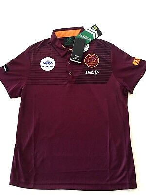 Brisbane Broncos NRL Perfomance Polo SHIRT NWT RUGBY LEAGUE NEW ISC 2018 ADULT