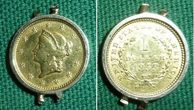 U.S. Liberty Head Gold Coin $1 One Dollar 1853 in Bezel - No Reserve