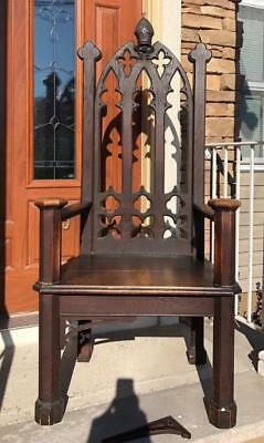 Antique Gothic Bishops Chair From A Closed 100 Year Church - Jrps548697