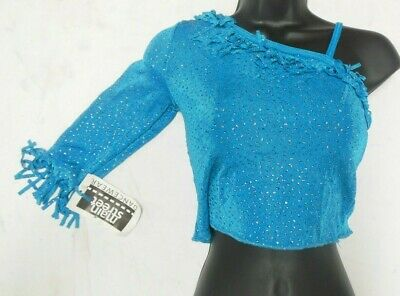 NWT Turquoise blue glittered one sleeve slinky top medium child dance costume