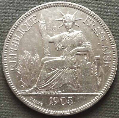 French Indo-China 1905 A Silver Piastre KM#5a.1