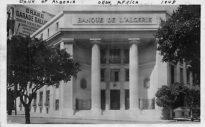 Oran Algeria 1948 RPPC Real Photo Postcard Banque De L'Algerie Bank of Algeria