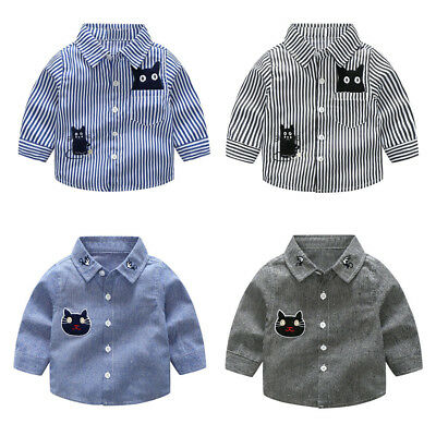 Toddler Fall Baby Boys Cartton Cat Striped Printed T Shirt Tops Blouse Button