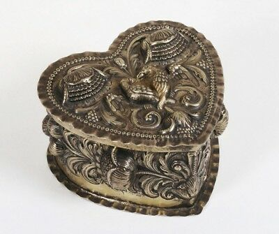 Early Silver Repousse Box - Flowers & Love Birds -European Continental