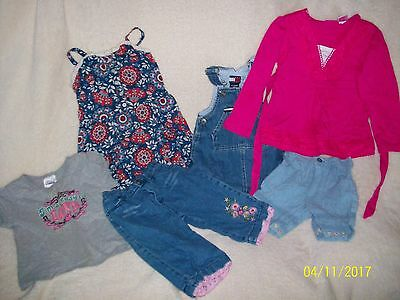 Lot Of 6 Pieces Of Toddler Girl's Clothes Various Sizes