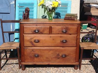 Antique Victorian Pine Chest Of Drawers Bun Feet Solid Piece Country Rustic Chic